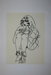 Egon Schiele serigraph, Nude woman curled up, 1918