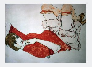 Egon Schiele print, Wally knees lifted up in a red blouse, 1913