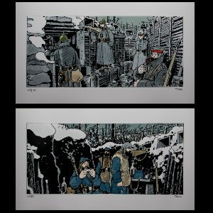 Láminas pigmentarias firmadas Jacques Tardi, It Was the War of the Trenches