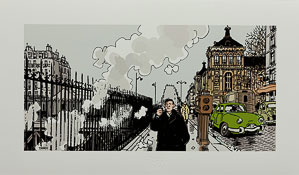 Estampe Pigmentaire Jacques Tardi : Nestor Burma dans le 17e Arrondissement de Paris