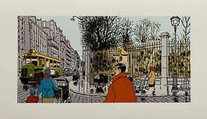Estampe Pigmentaire Jacques Tardi : Nestor Burma dans le 6e Arrondissement de Paris