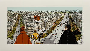 Estampe Pigmentaire Jacques Tardi : Nestor Burma dans le 8e Arrondissement de Paris
