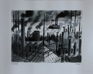 Jacques Tardi signed Art Print, Les toits de Paris