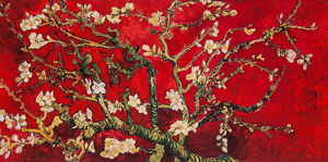 Vincent Van Gogh print, Almond Branch in bloom (red)