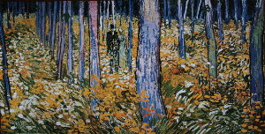 Vincent Van Gogh print, Undergrowth with two figures, 1890