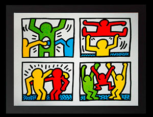 Lámina enmarcada Keith Haring : Pop Shop Quad 1