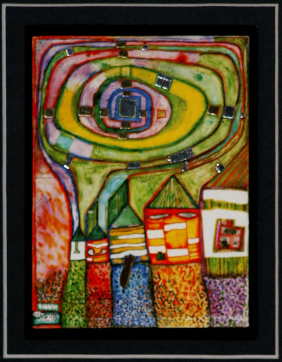 Hundertwasser Snail Houses Framed Fine Art Card With