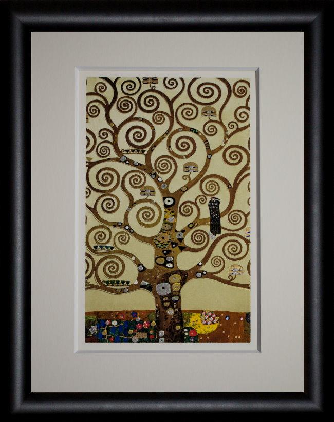Lámina enmarcada de Gustav Klimt : El árbol de la vida (hojas de oro)