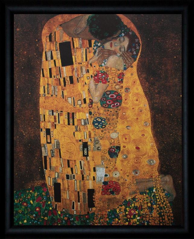 Lámina enmarcada de Gustav Klimt : El beso 40 x 50 cm
