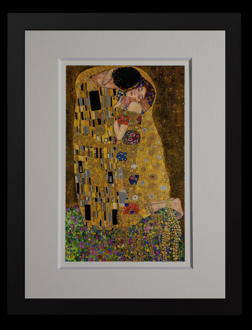 Lámina enmarcada de Gustav Klimt : El beso (hojas de oro)