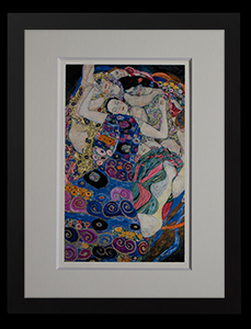 Gustav Klimt framed matted fine Art Print, gold inlays