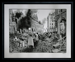 Jacques Tardi signed and numbered, framed lithograph, Le cri du peuple III