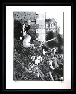Jacques Tardi signed and numbered, framed lithograph, Le cri du peuple IV
