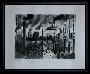 Jacques Tardi signed and numbered, framed print, Les toits de Paris