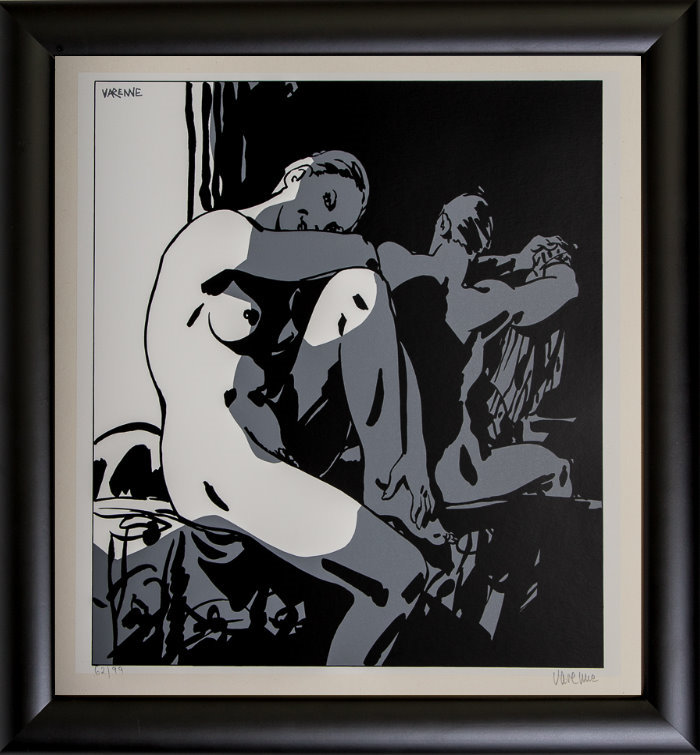 Alex Varenne framed serigraph : Couple n°1