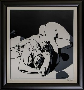 Alex Varenne framed serigraph : Couple n°12