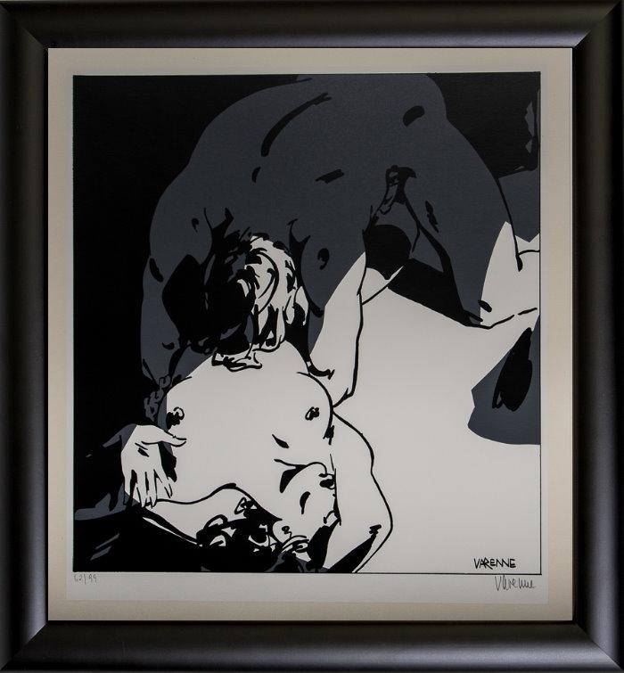 Serigrafía enmarcada Alex Varenne : Couple n°17