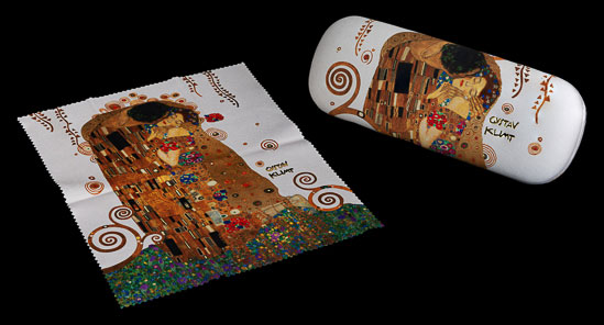 Gustav Klimt Spectacle Case : The kiss (white)