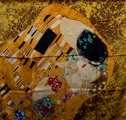 Gustav Klimt scarf : The kiss (unfolded)