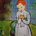 Pablo Picasso scarf : Child with a Dove (unfolded)