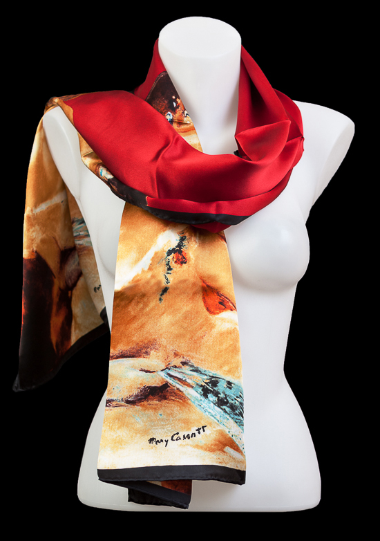Mary Cassatt scarf : Lydia In Loge Wearing Pearl Necklace