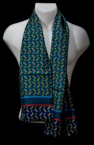 Tiffany silk scarf for men : Dragon Fly (Bleu)