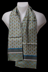 Tiffany silk scarf for men : Dragon Fly (Grey)
