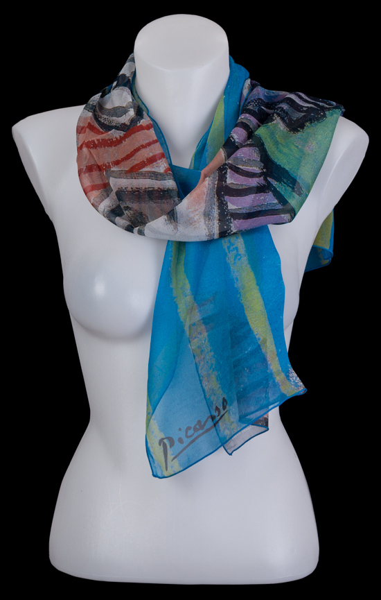 Pablo Picasso scarf : Bust of a woman wearing a striped hat