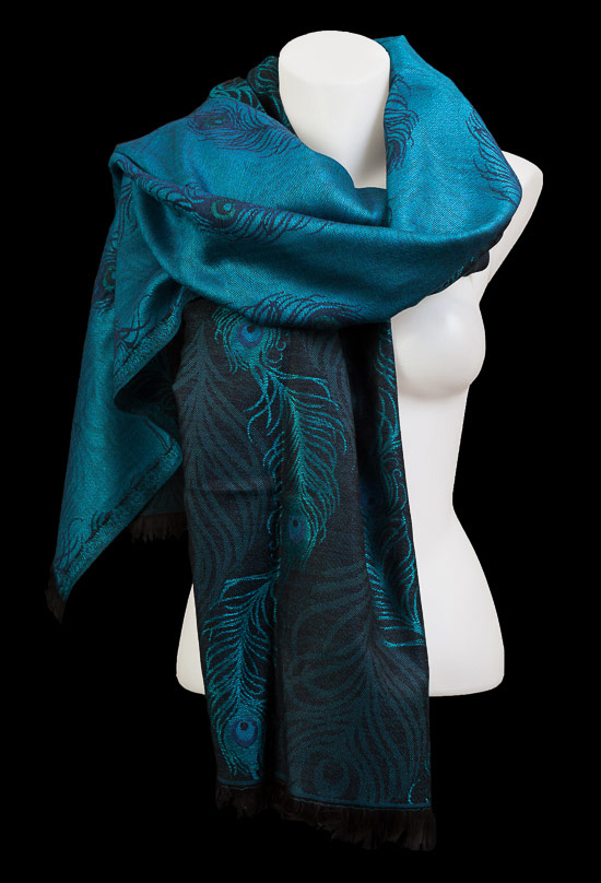 Louis C. Tiffany Jacquard Shawl : Peacock Feather (Blue)