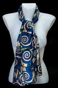 Gustav Klimt scarf : The Tree of Life (blue)