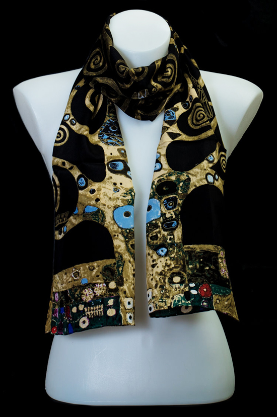 Gustav Klimt silk scarf : The tree of life (black)