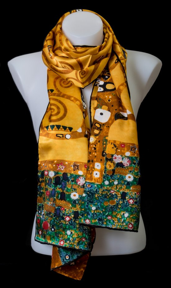 Gustav Klimt Silk Scarf The Tree Of Life Gold