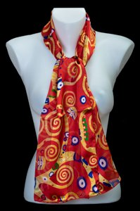 Gustav Klimt scarf : The Tree of Life (red)
