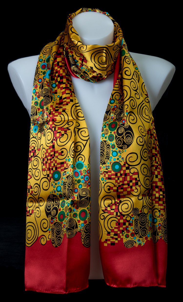Gustav Klimt Scarf Art Nouveau Red 155 X 40 Cm