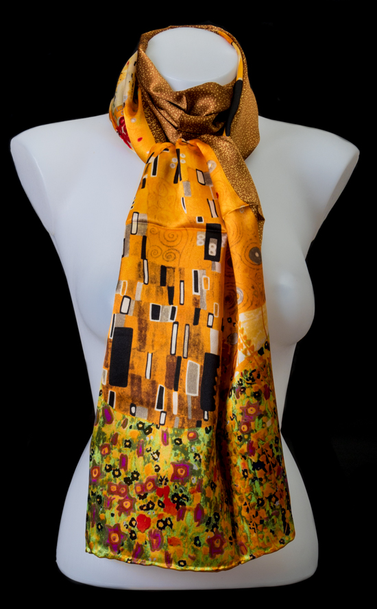 Silk Scarf Gustav Klimt The Kiss Gold