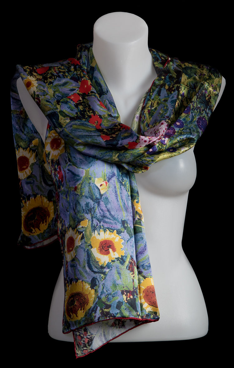 Gustav Klimt scarf : Farm Garden With Sunflowers