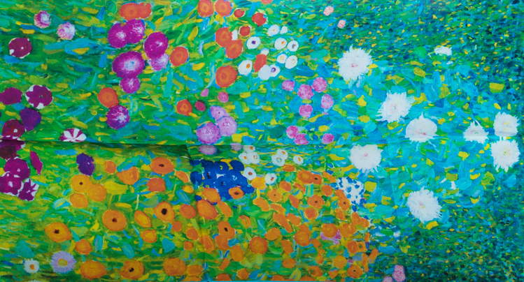 Echarpe en soie Gustav Klimt : Jardin en fleurs