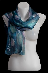 Claude Monet scarf : The white water lilies (morning blue)