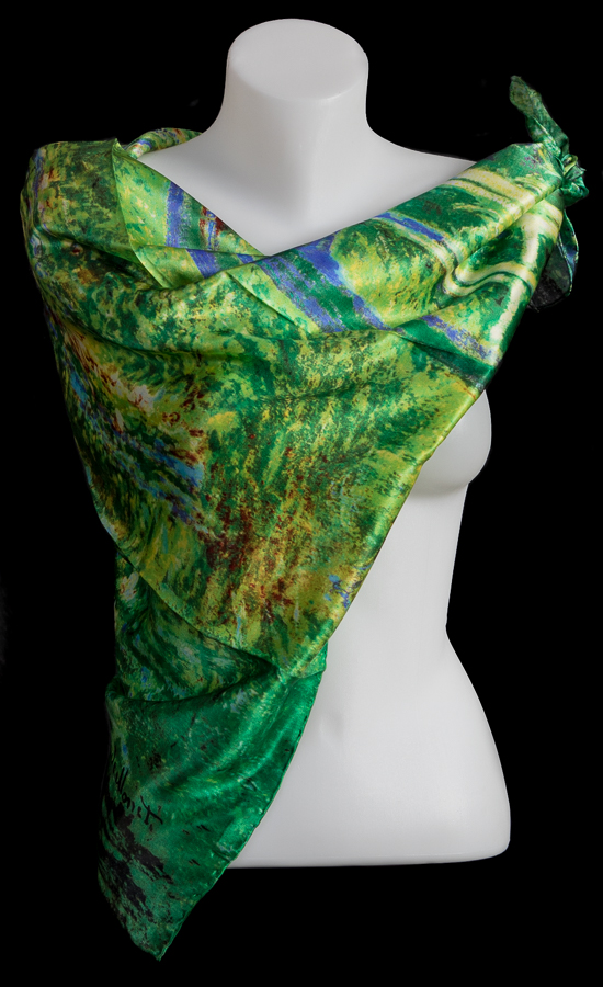 Claude Monet silk scarf : The Japanese Bridge of Giverny