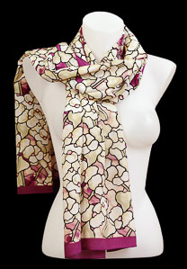 Tiffany silk scarf : Magnolias blossoms