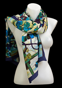Tiffany silk scarf : Grapevine Window