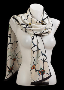 Tiffany silk scarf : White Magnolia