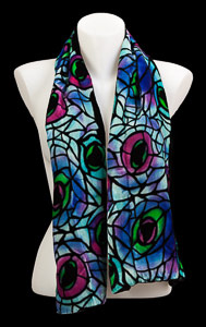 Tiffany Silk Velvet Scarf : Paon (Blue)
