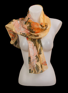 Hokusai silk scarf : Peonies with butterflies
