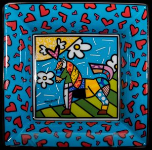 Goebel : Romero Britto plate : Dancer (blue)