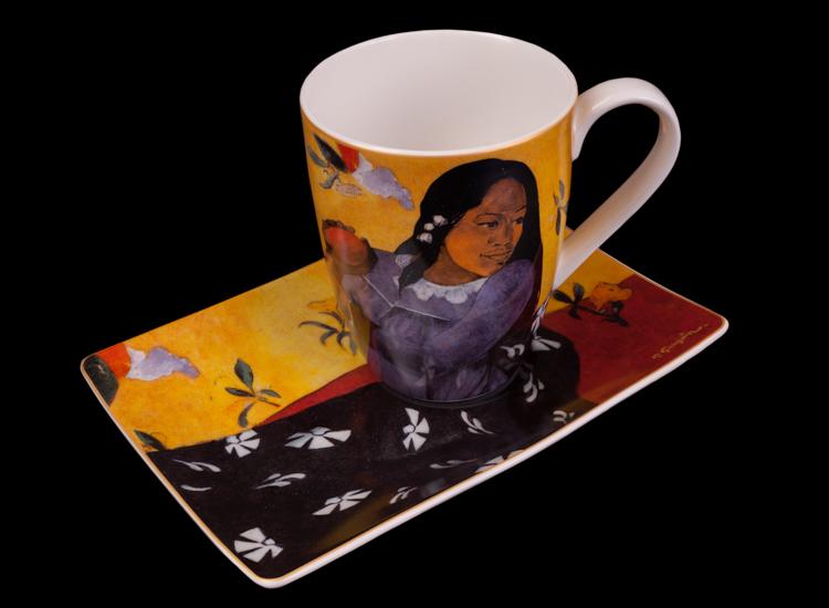 Tazza E Piattino Paul Gauguin Donna Con Mango