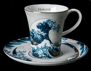 Hokusai Porcelain coffee cup, The Great Wave of Kanagawa