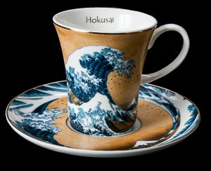 Hokusai coffee cup and saucer : The Great Wave of Kanagawa (gold)