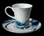 Hokusai coffee cup and saucer, The Great Wave of Kanagawa