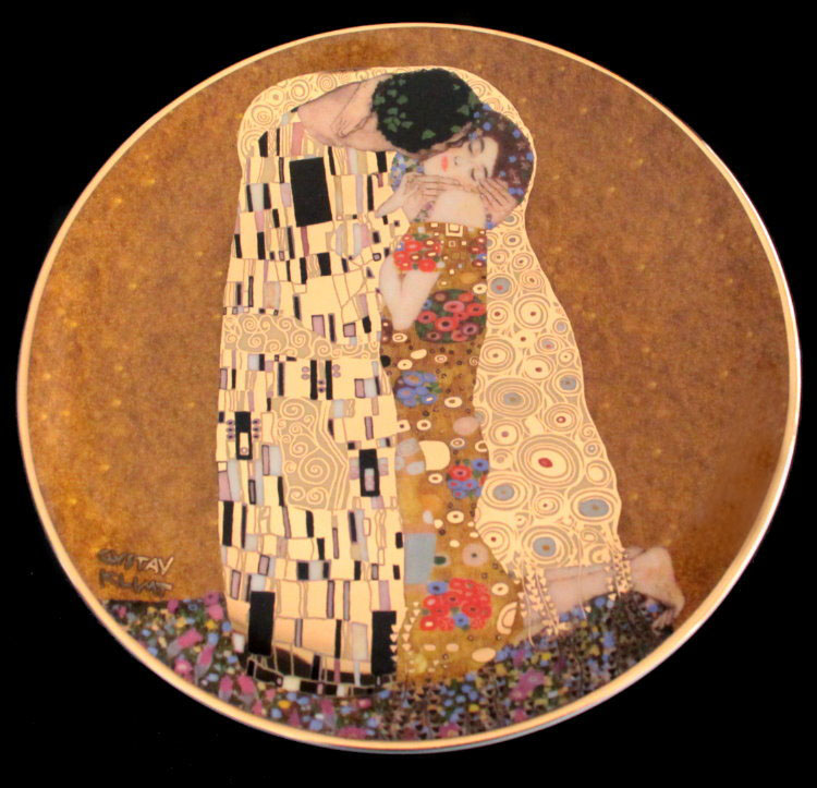 Gustav Klimt porcelain plate : The kiss, 20 cm diameter